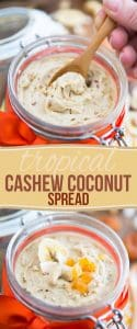 A smooth and creamy cashew and coconut butter loaded with bits of toasted coconut, banana chips and dried apricots, this Tropical Cashew Coconut Spread is a veritable tropical paradise in a jar!