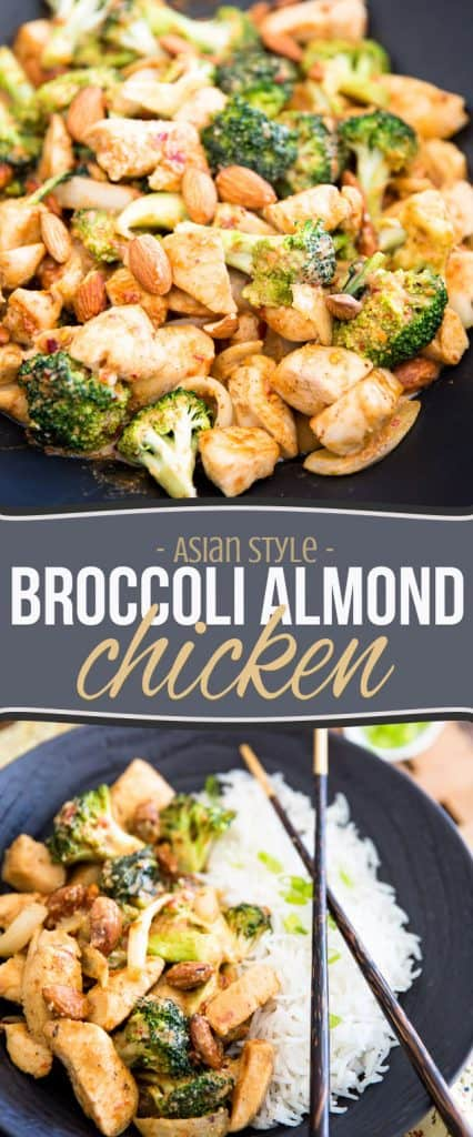 This quick and easy Broccoli Almond Chicken dish has a rich and creamy almond flavor with a bit of an Asian twist, guaranteed to please the entire family.