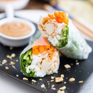 Chicken Spring Rolls with Creamy Peanut Sauce by Sonia! The Healthy Foodie | Recipe and instructions on thehealthyfoodie.com