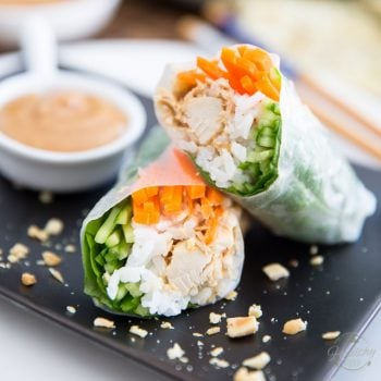 Chicken Spring Rolls with Creamy Peanut Sauce