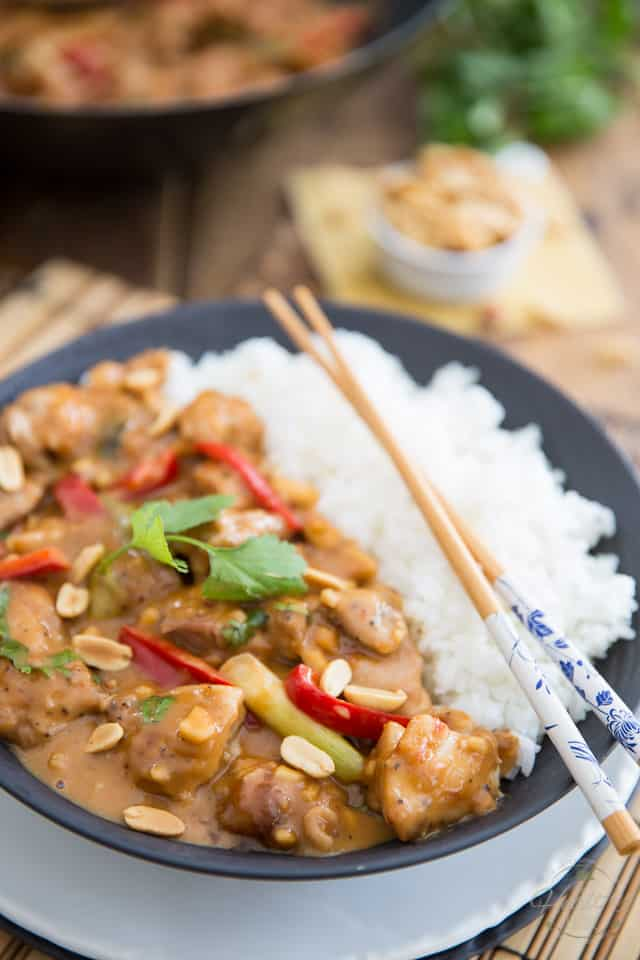 If you're in the mood for a little bit of Asian food tonight, this Asian style Creamy Peanut Chicken is sure to hit the spot. Much better than take out too!