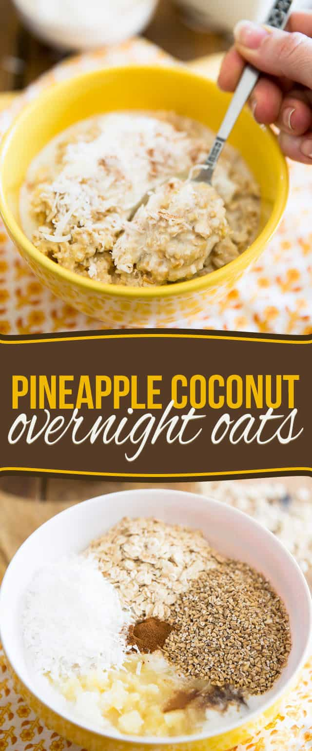 Delicious and super quick to prepare, these Pineapple Coconut Overnight Oats will have you totally look forward to rolling out of bed in the morning!