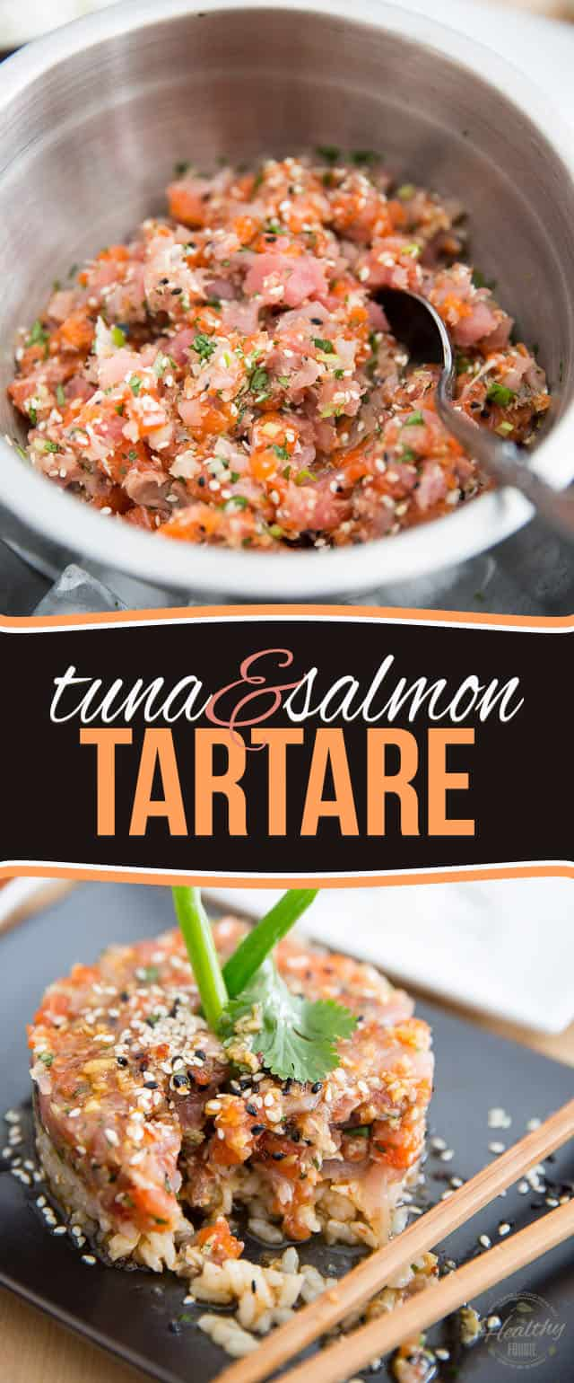 A duo of favorite fish complemented with hints of sesame, ginger and cilantro; this Asian Tuna Salmon Tartare makes for a refreshing light meal or appetizer