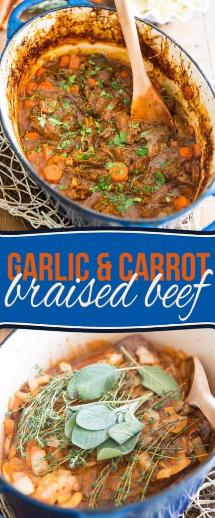 Rainy and cold out? This comforting Carrot and Garlic Braised Beef is the perfect solution to put a little bit of sunshine in your day!