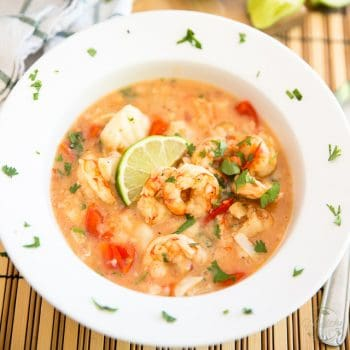 Coconut Lime Shrimp and Cod Chowder