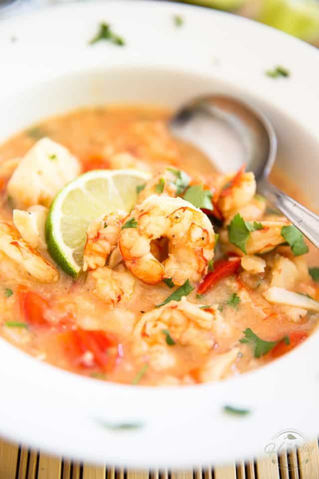 This Coconut Lime Shrimp and Cod Chowder is a seemingly light meal that's so chock full of fish and seafood, it's guaranteed to keep you full and satisfied for a very long time.