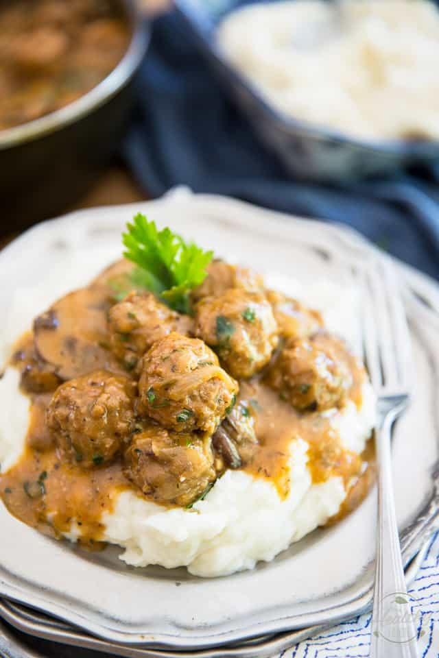 Salisbury Steak Meatballs by Sonia! The Healthy Foodie | Recipe on thehealthyfoodie.com