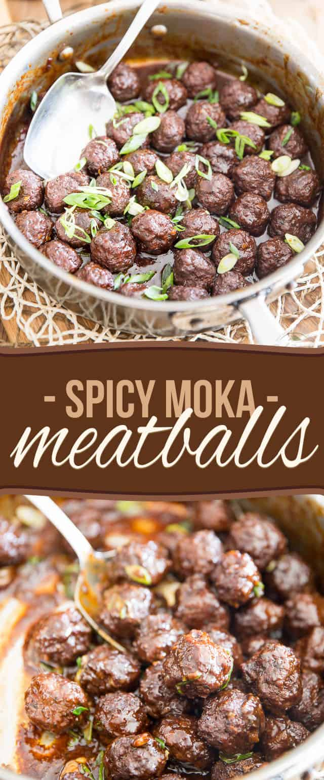 Sweet and salty meatballs with a bit of a kick, these baked and glazed Spicy Moka Meatballs are so tasty and delicious, you'll pop them like potato chips!