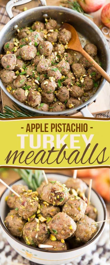 Take your meatballs to the next level with these super tender and crazy tasty Apple Pistachio Turkey Meatballs. Great as a meal, excellent as finger food.