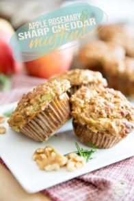 Naturally Sweetened Rosemary Sharp Cheddar Apple Muffins by Sonia! The Healthy Foodie | Recipe on thehealthyfoodie.com