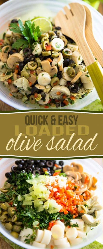 Love olives? Then you will be absolutely all over this Loaded Olive Salad. So quick and easy to make, too! Open cans, chop a few veggies, mix and enjoy!