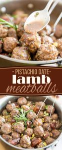 These Pistachio Date Lamb Meatballs are loaded with tons of morsels of dates and pistachios for a refreshingly sweet and surprisingly delicious flavor!