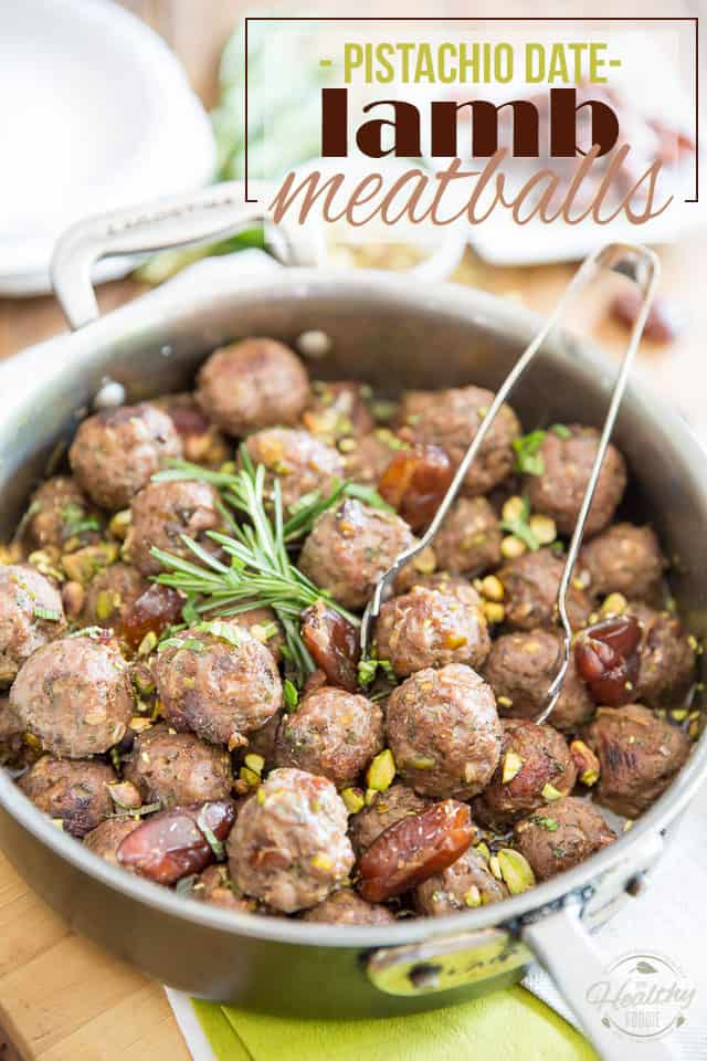 These Pistachio Date Lamb Meatballs are loaded with tons of morsels of dates and pistachios for a refreshingly sweet and supringly delicious flavor!