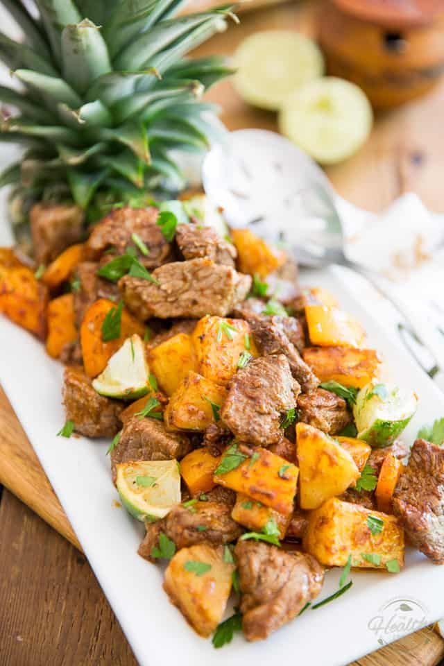 Sheet Pan Pineapple Beef with a Mexican Twist by Sonia! The Healthy Foodie | Recipe on thehealthyfoodie.com