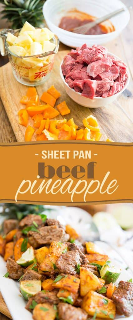 Looking for a quick and easy, yet crazy tasty recipe that you can whip up on any given week-night? This Sheet Pan Pineapple Beef one is totally for you!