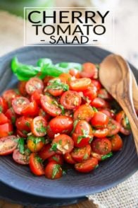 This Cherry Tomato Salad is crazy easy to make but boasts an incredible amount of flavor under its hood and will keep well for several days, too!