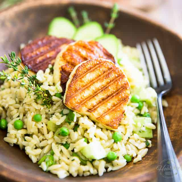 Cucumber and Peas Orzo Salad with Grilled Halloumi • The ...