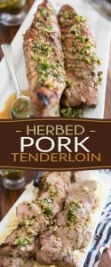 This Grilled Herbed Pork Tenderloin is a simple dish of pork tenderloins marinated in all kinds of fresh herbs and grilled to juicy perfection!