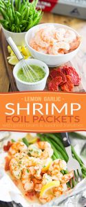 These Lemon Garlic Shrimp Foil Packets with Green Beans and Sun Dried Tomatoes are simple, elegant, ready in minutes and as easy to make as they are delicious!