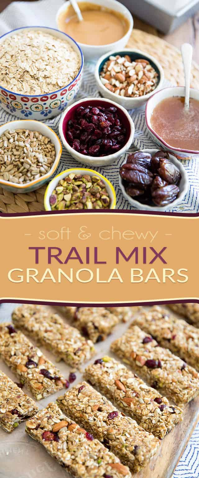 Make your own Soft and Chewy Trail Mix Granola Bars at home for a fraction of the price of store-bought. They're so much healthier, too!