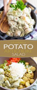 Creamy potato salad with artichoke and green olives, brought together by a delicious creamy dressing. The perfect companion to your grilled meat or sandwich!