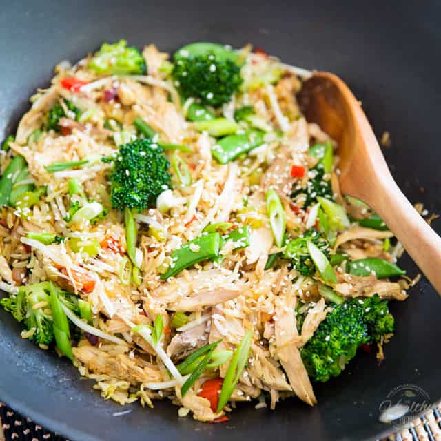 Stupid Easy Chicken Fried Rice • The Healthy Foodie