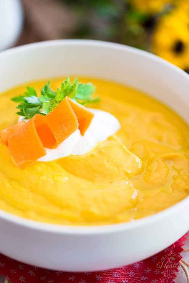 This Cream of Carrot and Cauliflower Soup is the perfect soul warming meal on a fresh autumn or cold winter day. Best of all, it's super quick and easy to make, and super healthy, too!