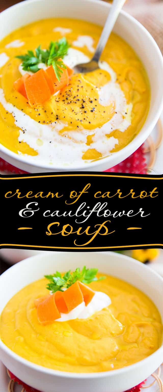 This Cream of Carrot and Cauliflower Soup is the perfect soul warming meal on a fresh autumn or cold winter day. Best of all, it's super easy to make!