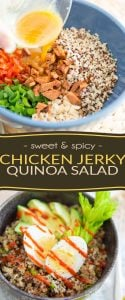 Bursting with so much wholesome flavors and textures, this Sweet and Spicy Chicken Jerky Quinoa Salad is sure to brighten up your next work or school lunch hour!