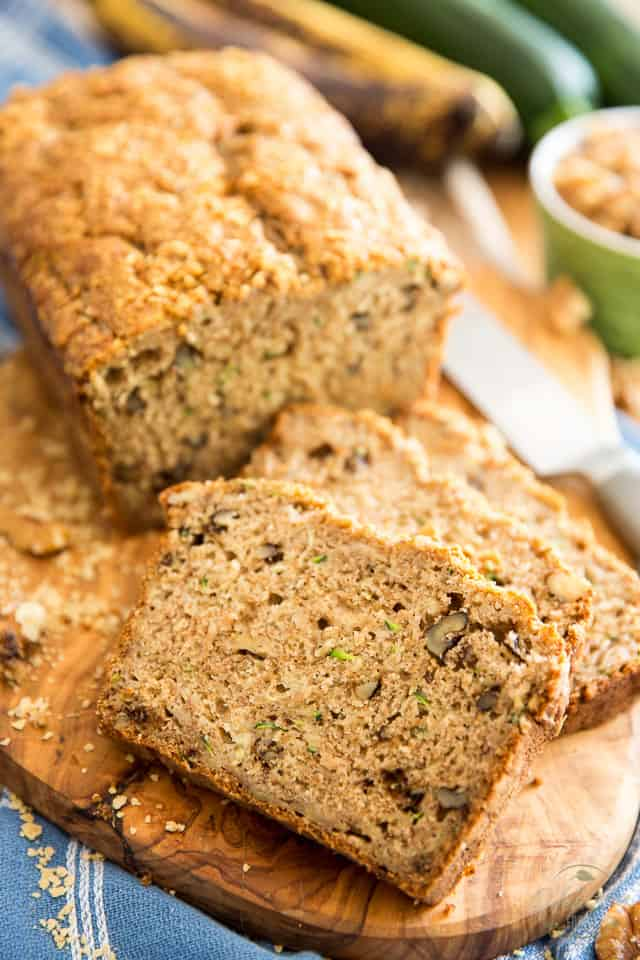 Sweetened with nothing but bananas and maple syrup, this Zucchini Banana Bread still tastes so good, no one will ever guess that it's actually healthy