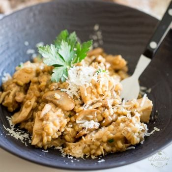 Creamy Chicken Mushroom Barley Risotto by Sonia The Healthy Foodie | Recipe on thehealthyfoodie.com