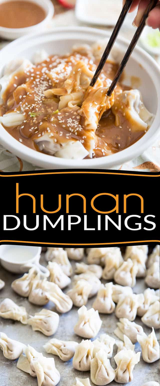 Hunan Dumplings are meat filled wontons generously covered in a sweet and spicy peanut butter sauce. A favorite in Quebec, they'll no doubt win your heart!