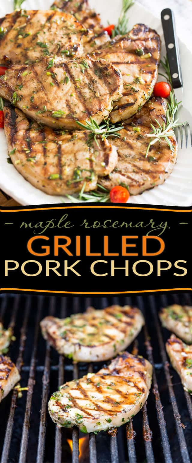 Need a change from your usual grilled pork chops? How about soaking them in a maple syrup rosemary marinade for a day or two prior to grilling? You and your guests are in for a serious treat with these Maple Rosemary Grilled Pork Chops!
