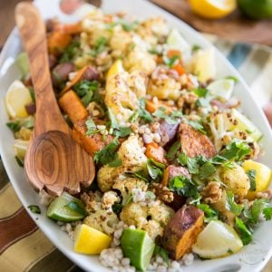 Oven Roasted Cauliflower Sweet Potato Barley Salad by Sonia! The Healthy Foodie | Recipe on thehealthyfoodie.com