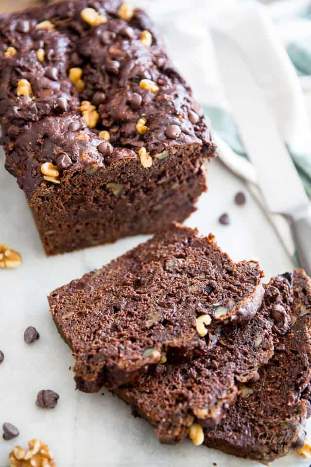 Made with wholesome ingredients - Refined Sugar Free - Zucchini Chocolate Bread by Sonia! The Healthy Foodie | Recipe on thehealthyfoodie.com