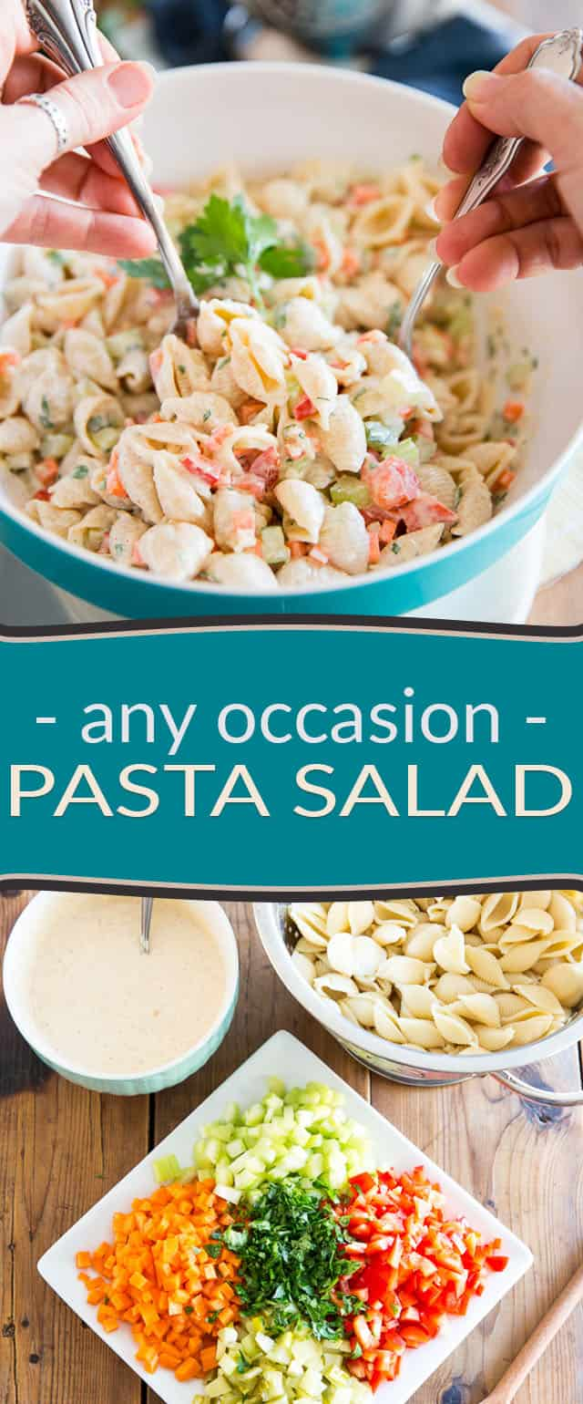 We all have a good go-to macaroni salad recipe that we like to make all the time, right? Please meet my very own personal Any Occasion Pasta Salad recipe... Tastes a bit like KFC's, only it's MUCH healthier!