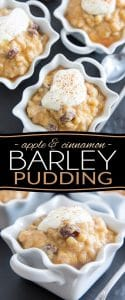 A bit of a cross between rice pudding and tapioca pudding, only in a much chewier version! If you're a fan, you have to give this Apple & Cinnamon Barley Pudding a try!