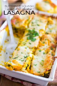 Oven Roasted Butternut Squash Lasagna with Spinach and Chicken by Sonia! The Healthy Foodie | Recipe and step-by-step instructions on thehealthyfoodie.com