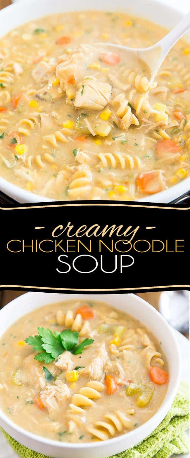 Can't decide between Cream of Chicken and Chicken Noodle Soup? No need to! Get the best of both worlds with this rich and creamy Chicken Noodle Soup