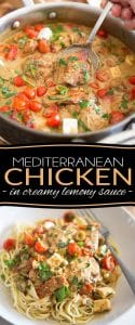 Made with a bunch of wholesome ingredients, this Mediterranean Chicken with Creamy Lemony Sauce feels crazy indulgent and tastes like pure paradise!