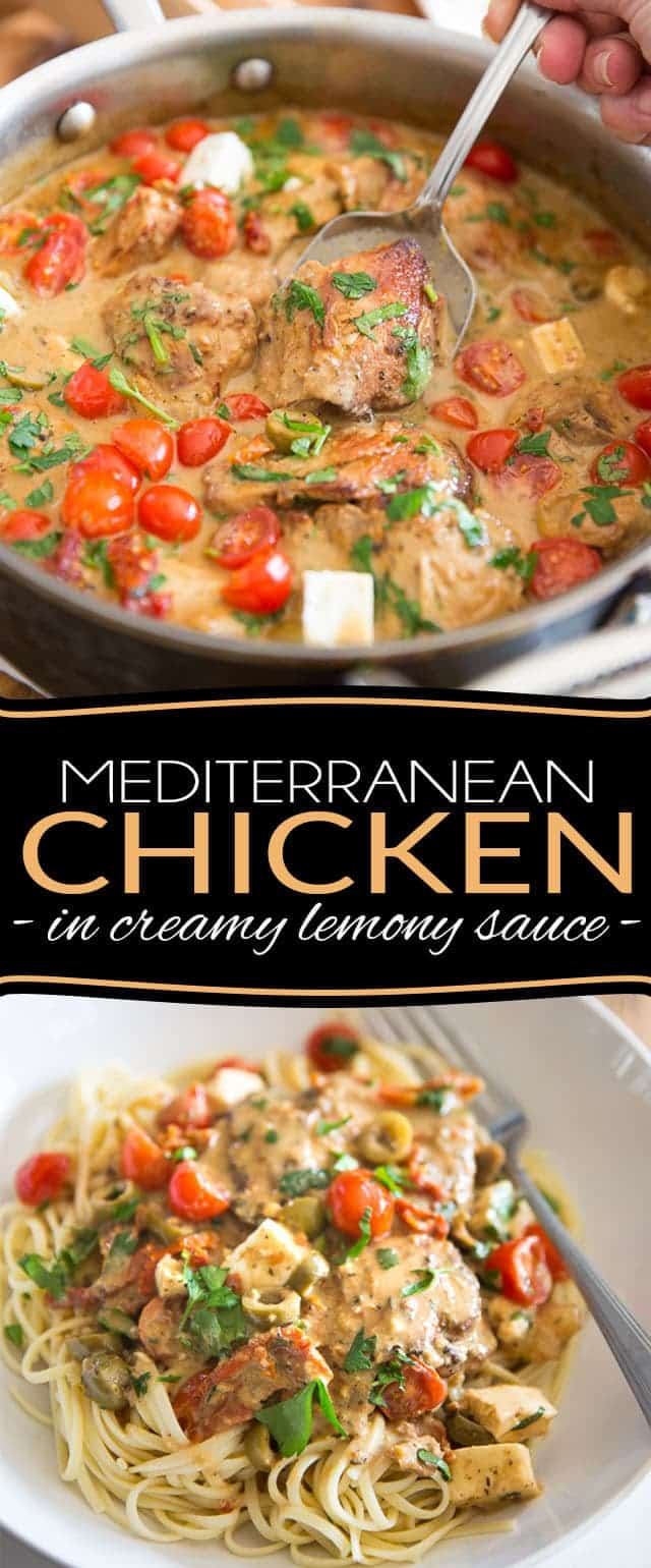 Mediterranean Chicken with Creamy Lemony Sauce by Sonia! The Healthy Foodie | Recipe on thehealthyfoodie.com