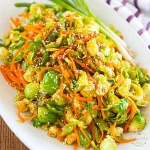 Sesame Maple Glazed Brussels Sprouts and Carrots