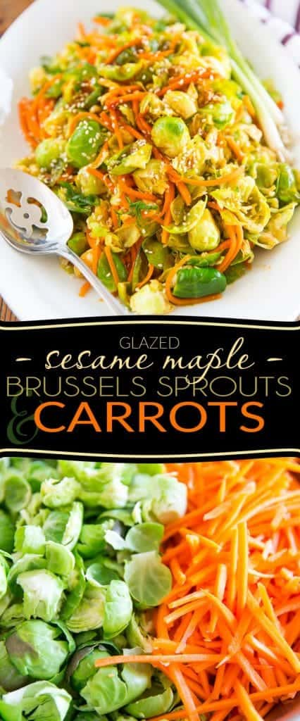 Sesame Maple Glazed Brussels Sproutsand Carrots by Sonia! The Healthy Foodie | Recipe on thehealthyfoodie.com