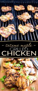Savory& sweet, bursting with flavor and crazy juicy, this Sesame Maple Grilled chicken tastes exactly like the one at my favorite Vietnamese restaurant!