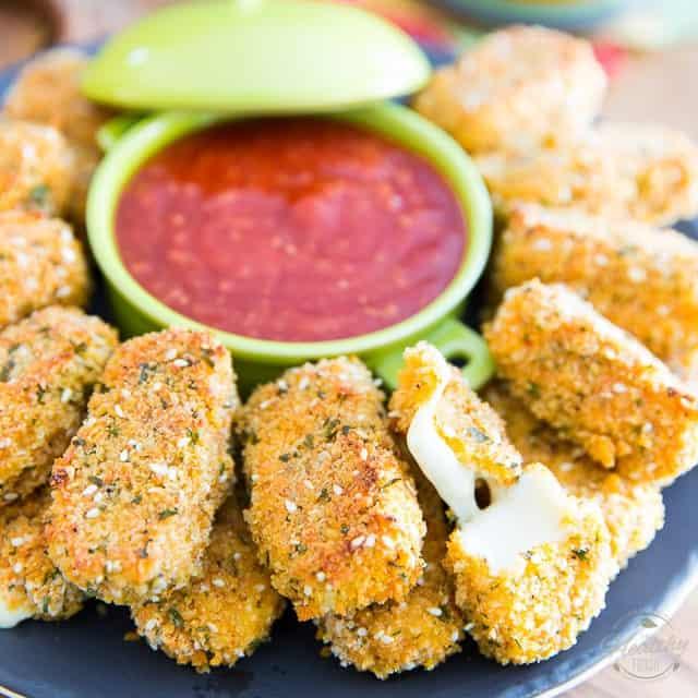 Healthier Baked Mozzarella Sticks • The Healthy Foodie