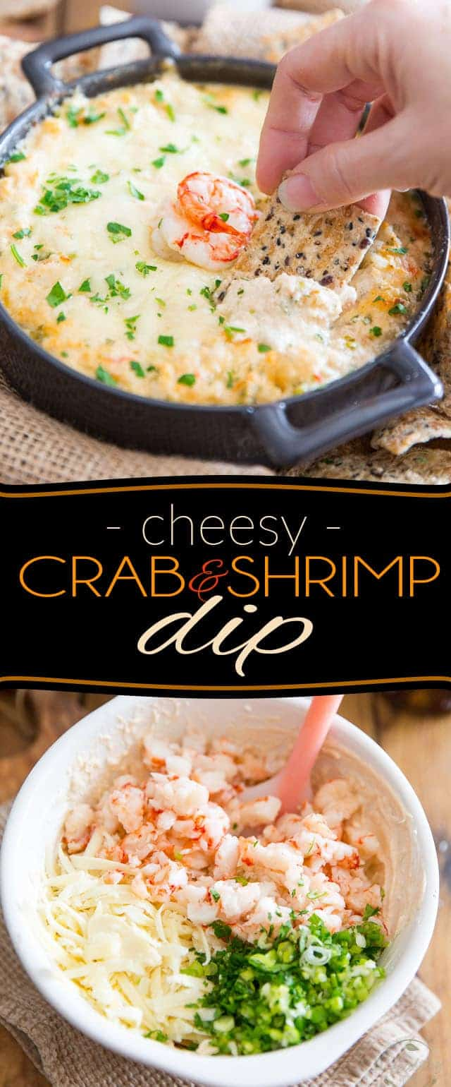 Indulge in a good way with this Cheesy Crab & Shrimp Dip! If you are a lover of everything cheese and seafood, you'll want to bathe in this!