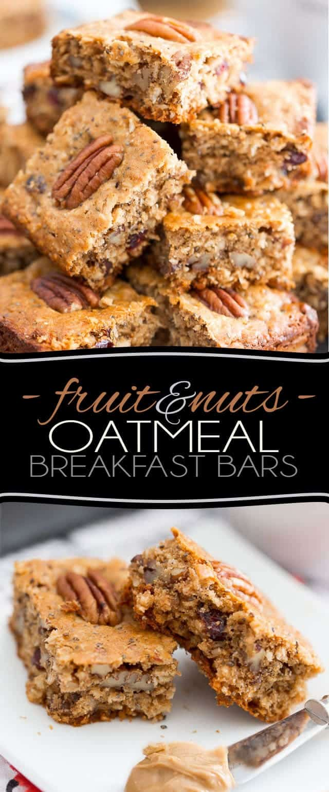 As easy to make as they are to eat, these Refined Sugar Free Fruit & Nuts Oatmeal Breakfast Bars make for a fantastic snack or breakfast on the go!