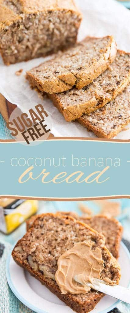 Whether you eat it plain or topped with your favorite peanut butter, this Sugar Free Coconut Banana Bread makes for the perfect snack or quick breakfast.