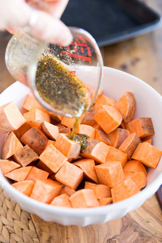 Adding seasonings to raw sweet potatoes