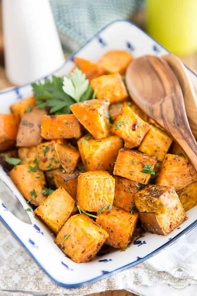 A bowl of Oven Roasted Sweet Potatoes